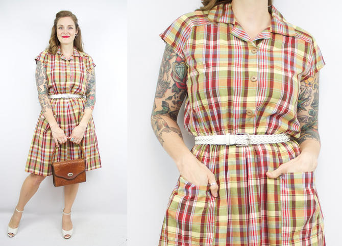 Vintage 70's 80's Fall Plaid Dress / 1970's Cotton Day Dress with Pockets / Fall / Women's Size Medium/Large by RubyThreadsVintage