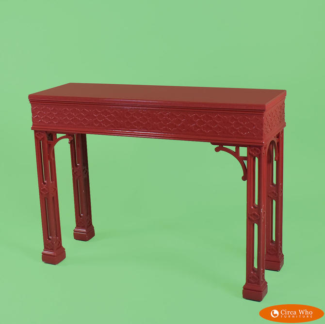 Hollywood Regency Fretwork Red Console