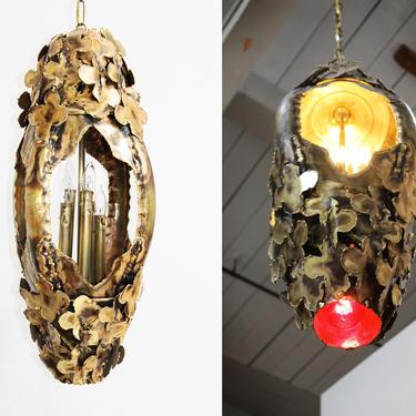 Vintage Swag Lamp Light Brass Floral Pendant Chandelier 70s 60s Tom Greene Brutalist by 330ModernAntique