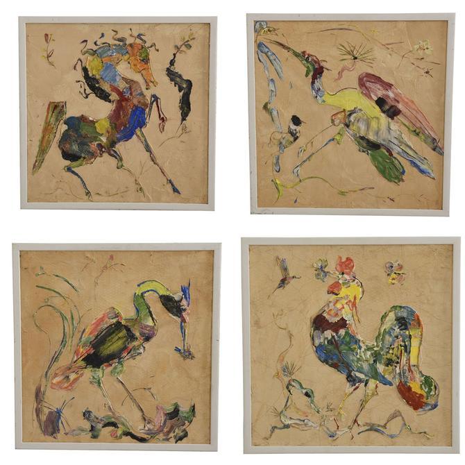 Quartet of Impressionistic Animal Impasto Paintings