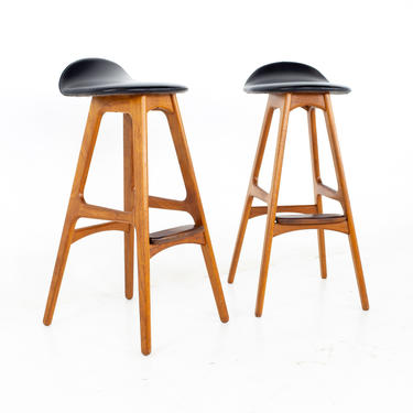 Erik Buch Mid Century Teak and Rosewood Bar Stools - A Pair - mcm by ModernHill