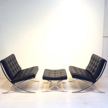 Set of 2 Barcelona Chairs & Ottoman, originals  designed by Mies Van Der Rohe for Knoll by XcapeVintage