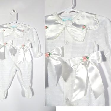 Vintage 80s Baby Girls Satin Petal Collar And Bows Onesie Made In USA Size M 0-3M by VelvetCastleVintage