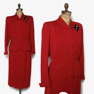 Vintage 40s Tailored Red SUIT / 1940s Black Velvet Trim Wool Gabardine Blazer Jacket & Pencil Skirt Set by LuckyDryGoods