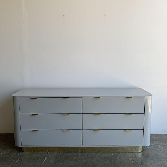 1980s High Polish Laminate and Brass Dresser by VintageOnPoint