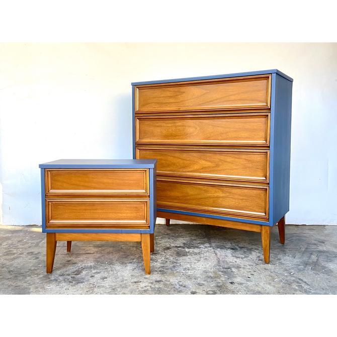 Tall Dresser & Nightstand Pair - Mid Century