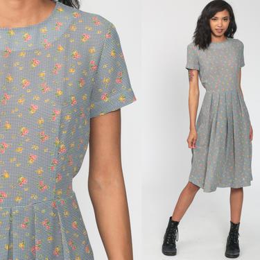 90s Floral Dress Gingham Pleated Dress Grunge Boho Bohemian High Waist Midi 1990s Short Sleeve Vintage Garden Party Medium by ShopExile