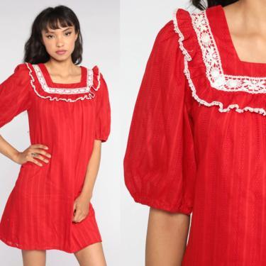 Red Tent Dress 70s Lace Ruffle Dress Mini Dress Cotton Summer Hippie Bohemian Vintage Trapeze Boho 1970s Dress White Small by ShopExile