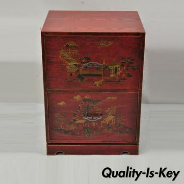 Cerused Red Lacquer Chinese 2 Drawer Office File Cabinet Chinoiserie Style
