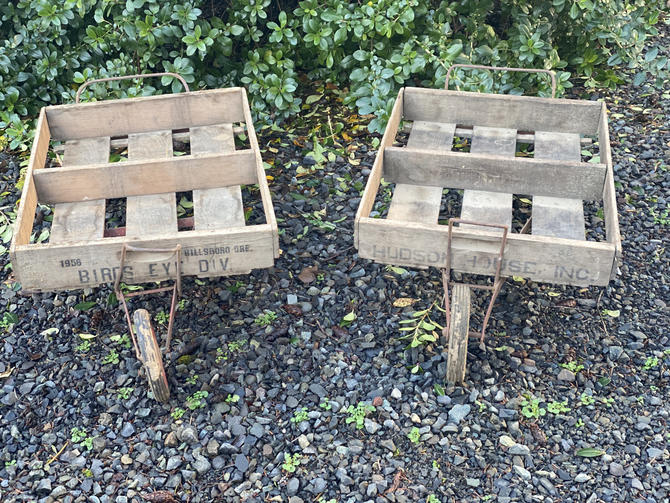 Vintage 1920s Berry Carrier Carts with Original Wood Crate Boxes by DesertCactusVintage