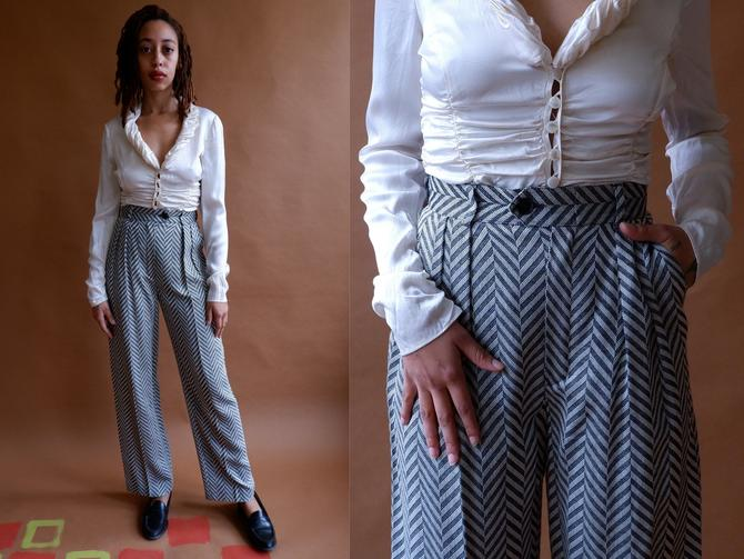 Vintage 80s Escada Herringbone Trousers/ 1980s Chevron High Waisted Wide Leg Pants/Margaretha Ley/ Size 26 by bottleofbread