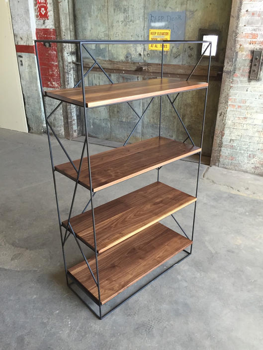 Modern Black Steel Bookcase with Solid Walnut Shelves by PWHFurniture