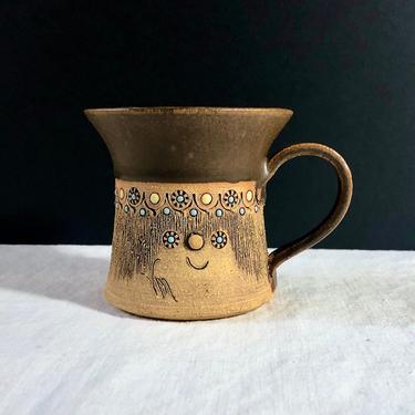 Vintage Handmade Studio Pottery Mug - Figural Face, Enamel, Two-Tone, Yellow Blue Brown, by VenerablePastiche