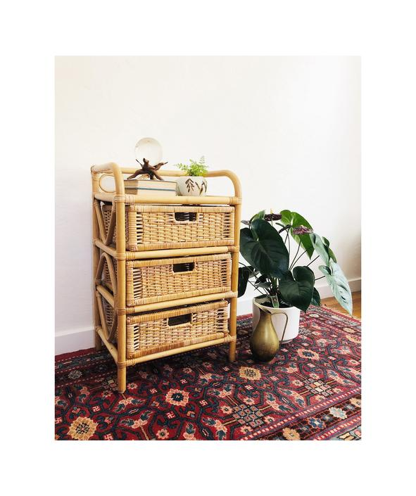 Vintage Wicker Shelf with Drawers by SergeantSailor
