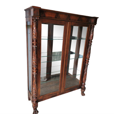 19th Century French Empire Flame Mahogany Claw Foot Glass Door Display Cabinet - antique curio by RabidRabbitAntiques