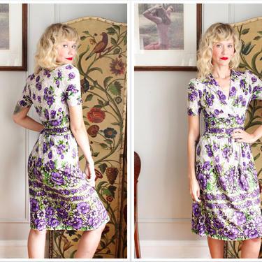 Early 1940s Dress // Morning Glory Rayon Jersey Dress // vintage 40s dress by dethrosevintage
