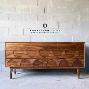 New Hand-Crafted Walnut 9-Drawer Dresser with wood relief design by MarthaLeoneDesign