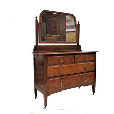 Small Chest Of Drawers   Vintage English Burled Mahogany 4 Drawer Dresser With Beveled Mirror by PickeryPlace