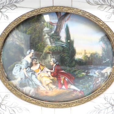 Hand Painted Miniature German Landscape in Brass Frame, Antique Painting, Floral Etching, Tortoise Frame, Artist Signed by exploremag