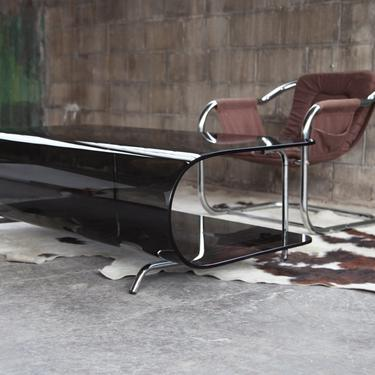 STUNNING Post Modern Smoked glass and bent Chrome Milo Baughman style coffee cocktail table MCM Designer by CatchMyDriftVintage