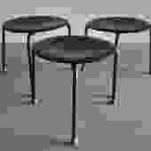 """Set of 3 molded plywood """"Dot"""" stools by Arne Jacobsen"""