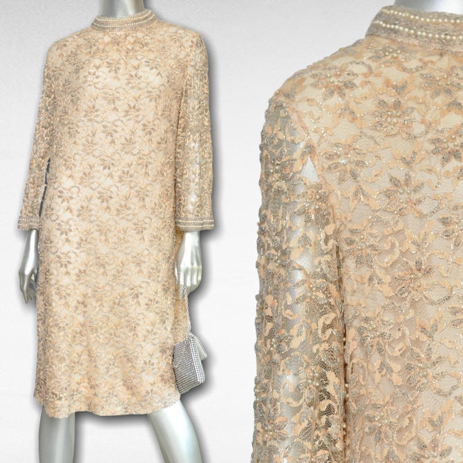 Vintage Champagne Beige Lace and Pearl Beaded Short Evening Gown Dress Made in Hong Kong by Regalia by TheUnapologeticSoul