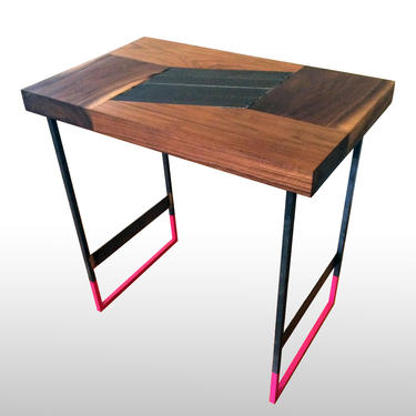 Walnut Side Table with Metal Inlay, Modern End Table, Industrial Accent Table, Apartment Living, Small Unique Table, Contemporary Furniture by LucasAhlstrand