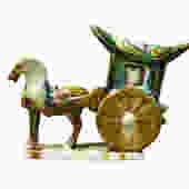 Chinese Tri-Color Ceramic Horse Cart Figure cs2386E by GoldenLotusAntiques