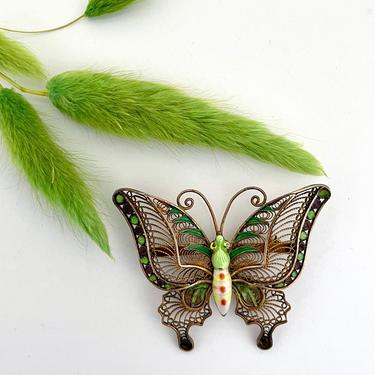BUTTERFLY EFFECT Vintage 30s / 40s Chinese Filigree Enamel Brooch | 1930s 1940s Asian Gold Plated Silver Enameled Insect Pin | Made in China by lovestreetsf