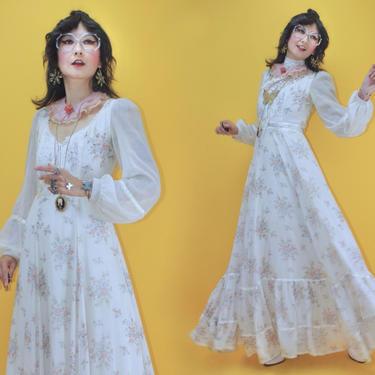 Vintage 1970s Gunne Sax Romantic Rose Bouquet Print Lace Up Corset Prairie Wedding Gown /SZ M 9/ 70s Boho Cottagecore Hippie Folk Maxi Dress by TheeAppleBoutique