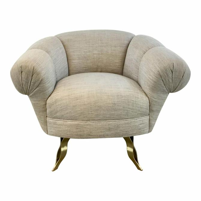 Modern Gray and Brass Channeled Swivel Lounge Chair