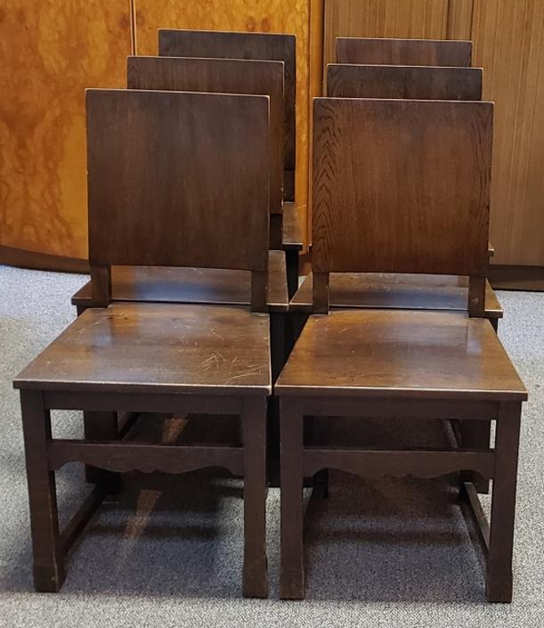 Item #T72 Set of Six English Oak Library / Dining Chairs c.1920s