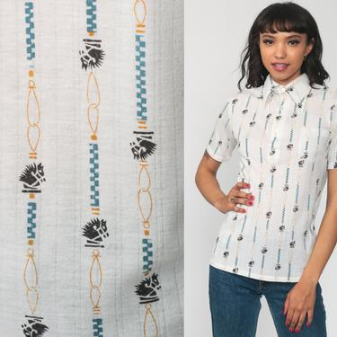 Chess Piece Shirt Horse Print Top Button Up Shirt 70s Top Novelty Blouse High Neck Off-White Short Sleeve Polo Shirt Vintage Geek Nerd Small by ShopExile
