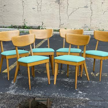 Set of Six Reupholstered Vintage Heywood Wakefield Dog Biscuit Dining Chairs - Mid Century Modern Birch Wood Dining Side Chairs by MidMod414