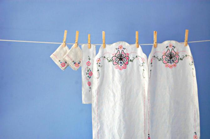 Hand Embroidered Linens Erfly Runner Cloth Napkins Vintage Fl Dresser Scarf Set French Knot Flower Table
