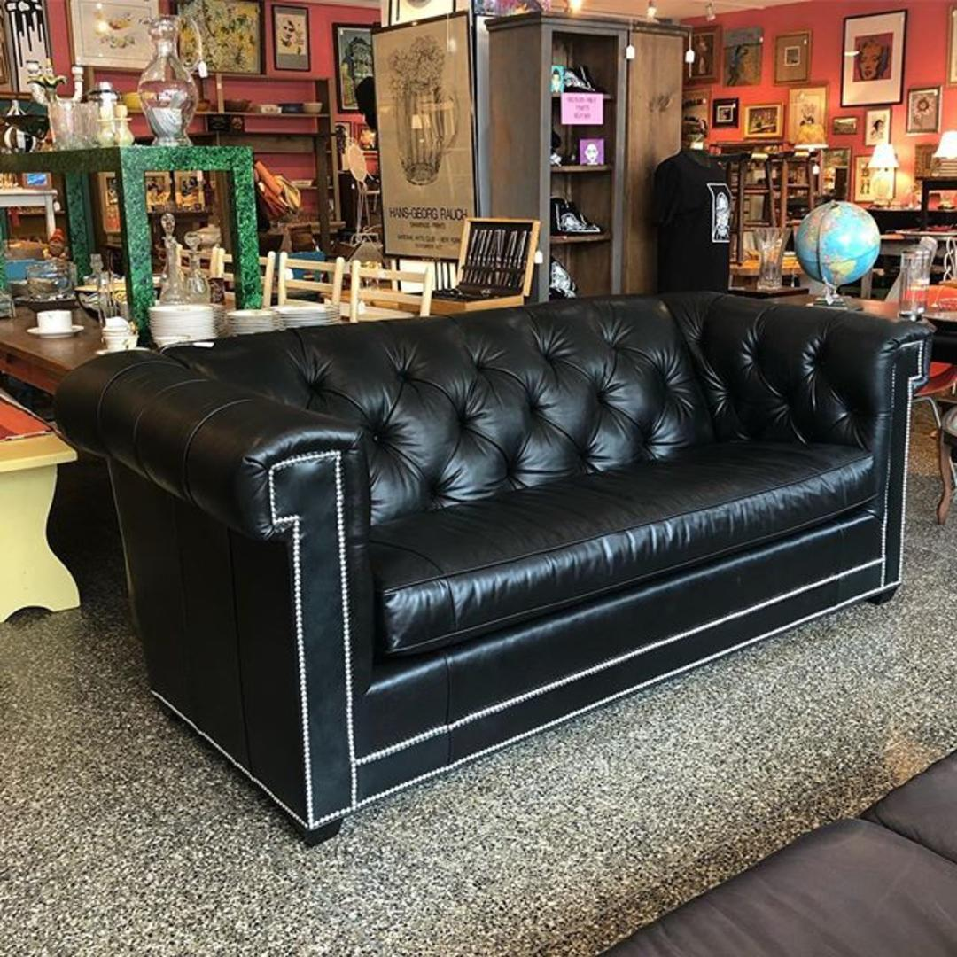 Awesome Black Leather Sofa 87 Long 41 Deep 35 Tall From Miss Pixies Of 14Th Street Washington Dc Spiritservingveterans Wood Chair Design Ideas Spiritservingveteransorg