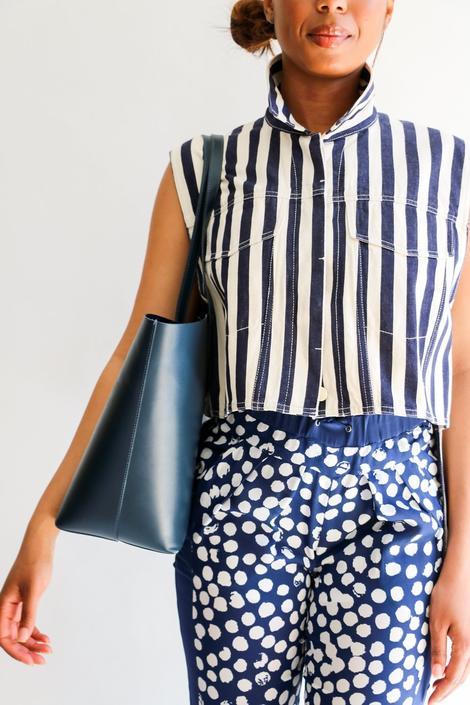 3.1 Philip Lim Boxy Striped Button-Up, Size 10