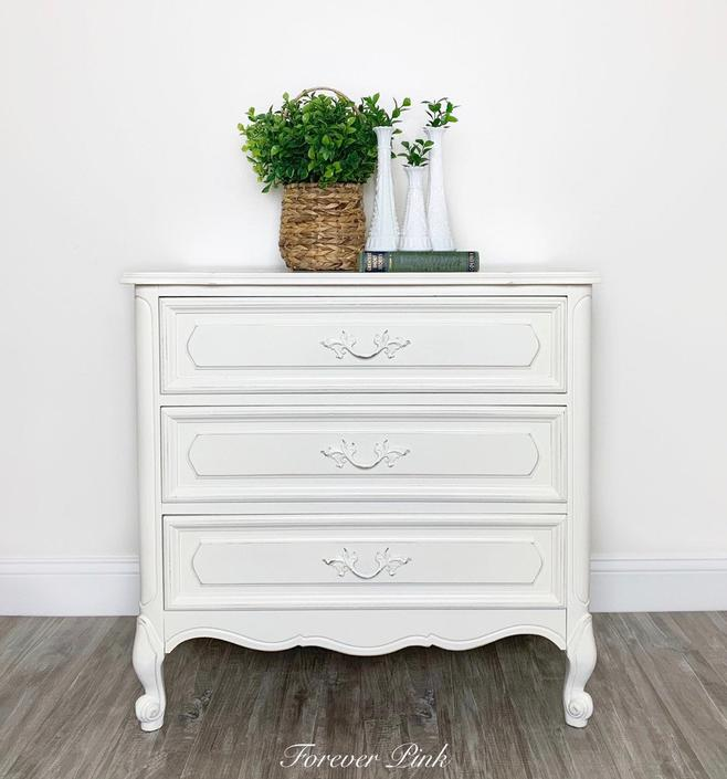 Vintage French Provincial Chest of Drawers - Refinished White Nightstand by ForeverPinkVintage