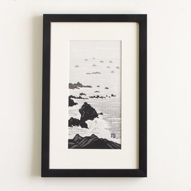 """Vintage Original Artwork Signed by Artist Gihachiro Okuyama Framed Mid Century Japanese Woodblock Print Titled """"Cape Murato"""" by HouseofSeance"""