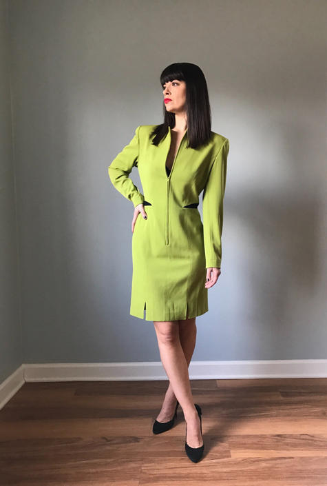 80s CLAUDE MONTANA body con dress | lime green wiggle dress by LosGitanosVintage