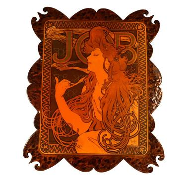 Vintage French Wood Burning Wall Art Alphonse Mucha by Marykaysfurniture