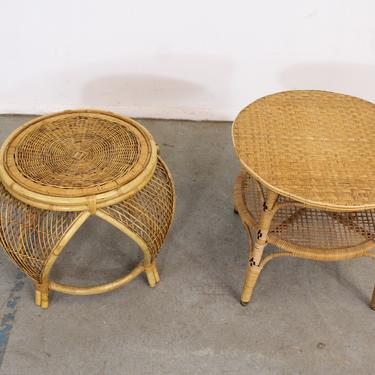 Pair of Mid Century Modern Rattan End Tables by AnnexMarketplace
