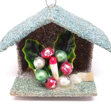 Vintage Glitter House Christmas Ornament, Antique Mercury Glass Beads Wreath with Candle and Leaves by exploremag