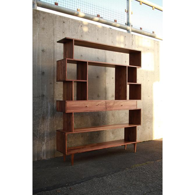 Arden OFFSTACK TV Bookcase, Geometric TV Bookshelf, Modern Staggering Console, American Made (Shown in Walnut) by TomfooleryWood