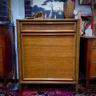 Thomasville midcentury modern 5 drawer dresser, top one with basket weave detail