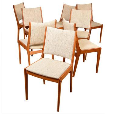 Set of 8 Teak Upholstered Johannes Andersen Dining Chairs