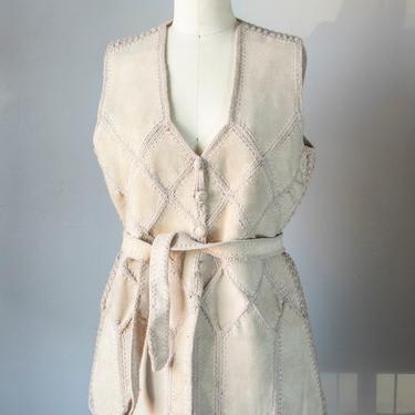 1970s Leather Suede Vest Top Boho M by dejavintageboutique