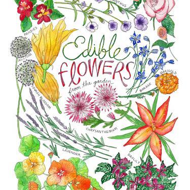 Edible Flowers Watercolor Kitchen Towel