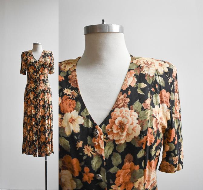 Vintage 1990s Dark Floral Dress by milkandice