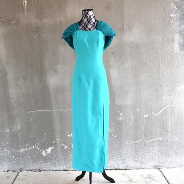 90s Prom Dress | Teal Green Dress | 90s Party Dress | Full Length Dress Fitted | Medium Dress M | Size 8 Dress | Avant Garde Dress by aphroditesvintage